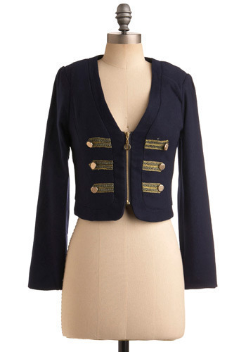 Marching Madness Jacket - Blue, Gold, Solid, Buttons, Work, Urban, Long Sleeve, Fall, Short