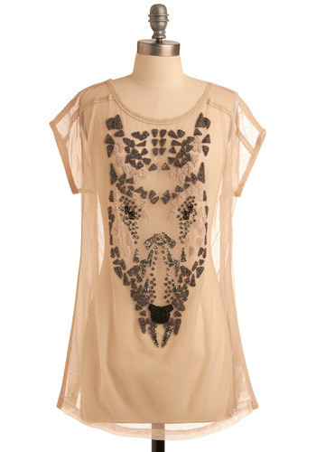 Face Facets Top by Nümph - Pink, Tan / Cream, Black, Silver, Print with Animals, Beads, Casual, Vintage Inspired, 20s, Short Sleeves, Long