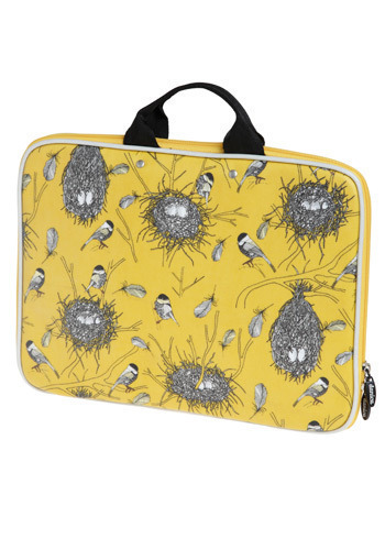 Chickadee Delight Laptop Case in Sunbeam - Yellow, Black, White, Print with Animals, Novelty Print, Work, Casual, Travel