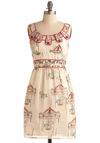 Flying Horses Dress - Cream, Red, Yellow, Blue, Black, Novelty Print, Print, Buttons, Trim, Party, Casual, A-line, Empire, Tank top (2 thick straps), Spring, Summer, Mid-length