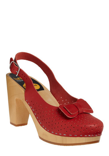 Cherries Shoe-bilee by Swedish Hasbeens - Red, Solid, Bows, Cutout, Casual, Luxe, Spring, Summer, Nautical, International Designer