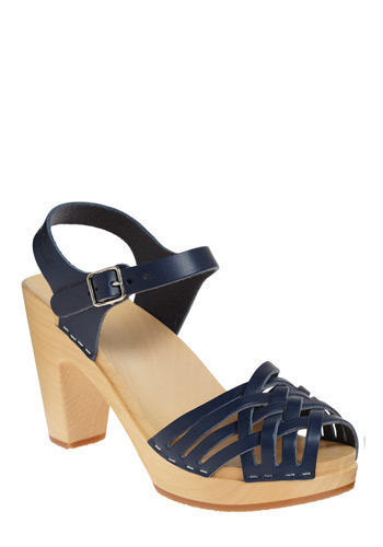 Runway to Reality Heel by Swedish Hasbeens - Blue, Solid, Casual, Spring, Summer, Nautical