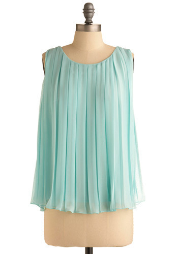 Aquarian Fascination Top - Blue, Solid, Cutout, Pleats, Formal, Sleeveless, Mid-length