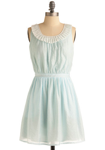 Out to Sea Foam Dress - Green, Blue, White, Solid, Cutout, Pleats, Pockets, Ruffles, A-line, Sleeveless, Spring, Summer, Backless, Mid-length