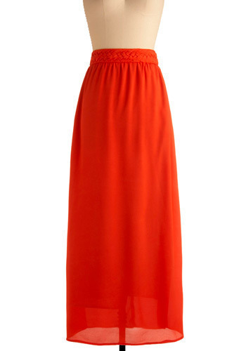 Always Play Flare Skirt - Orange, Solid, Braided, Casual, Maxi, Spring, Summer, Long