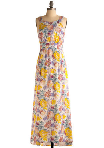 Floor-al Length Dress - Multi, Orange, Yellow, Green, Blue, Purple, Pink, White, Floral, Cutout, Pleats, Casual, Maxi, Tank top (2 thick straps), Racerback, Spring, Summer, Long