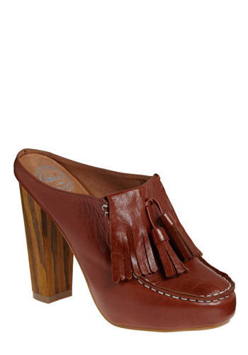 Kiltie Pleasure Heel by Jeffrey Campbell - Brown, Tan, Solid, Backless, Fringed, Tassels, Casual, Boho, Spring, Summer