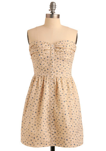 One Sweet Springtime Dress - Green, Blue, Floral, Buttons, Pleats, Pockets, Casual, A-line, Strapless, Spring, Summer, Cream, Mid-length