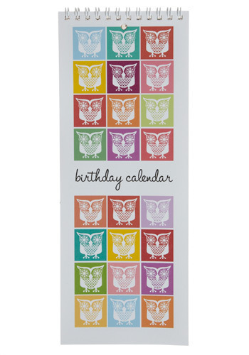 Time Flies Birthday Calendar - Multi, Red, Orange, Yellow, Green, Blue, Purple, Pink, White, Print with Animals, Novelty Print, Work, Casual, Owls