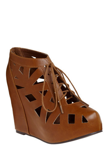 Polygon Shopping Wedge by Jeffrey Campbell - Brown, Solid, Cutout, Casual, Wedge