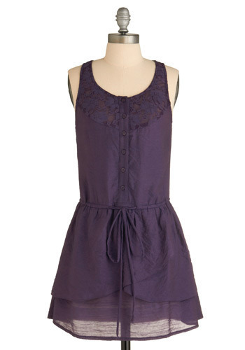 Sample 804 - Purple, Solid, Lace, Tiered, Casual, A-line, Sleeveless, Tank top (2 thick straps)