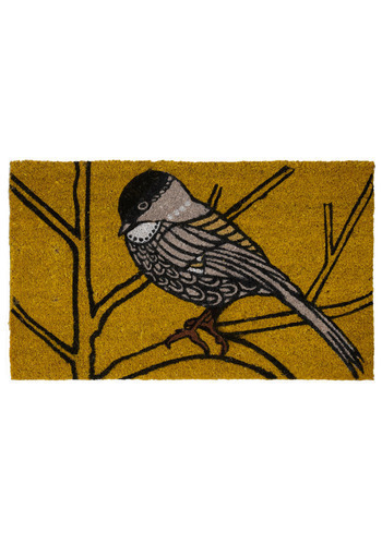 Chickadee Delight Doormat - Brown, Black, Grey, Print with Animals, Dorm Decor