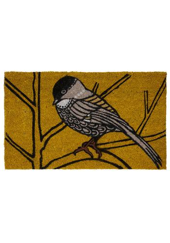 Chickadee Delight Doormat - Brown, Black, Grey, Print with Animals, Dorm Decor