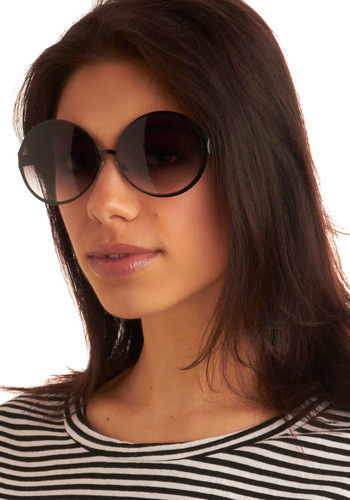 Oval Night Sensation Sunglasses - Black, Casual, Spring, Summer
