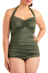 Bathing Beauty One Piece in Sage - Plus-Size by Esther Williams - Green, Solid, Casual, Halter, Spring, Summer, Pinup, Top Rated