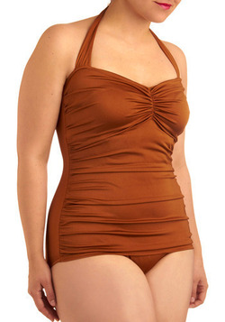 Bathing Beauty One Piece in Bronze - Plus-Size