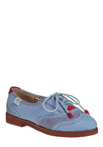 On the Move Flat by Miss L Fire - Blue, Red, Trim, Casual, Menswear Inspired, Rockabilly