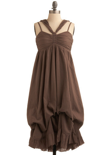 Chocolate Salon Dress - Brown, Solid, Buttons, Casual, Maxi, Spaghetti Straps, Spring, Summer, Long