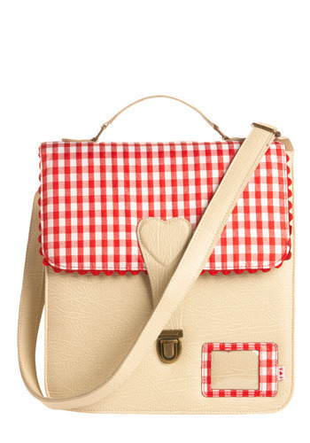 Professional Picnicker Satchel - Red, Cream, White, Checkered / Gingham, Buckles, Casual, Rockabilly, International Designer