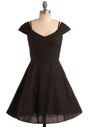 Jukebox Genie Dress - Black, Solid, Formal, Party, Casual, A-line, Short Sleeves, Spaghetti Straps, Rockabilly, Pinup, Mid-length
