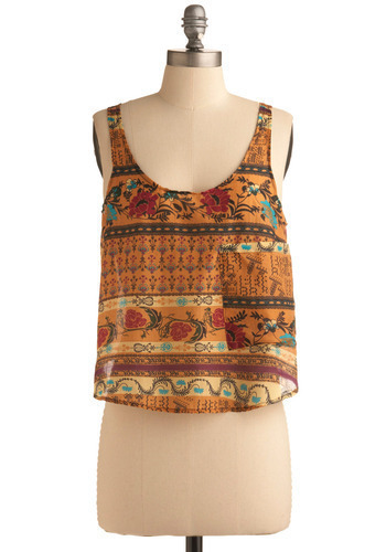 Looking Good Tank - Orange, Multi, Red, Yellow, Blue, Brown, Floral, Casual, Tank top (2 thick straps), Spring, Summer, Short