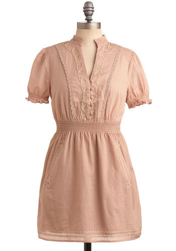 Under the Willow Dress - Pink, Solid, Buttons, Crochet, Casual, A-line, Short Sleeves, Spring, Summer, Short