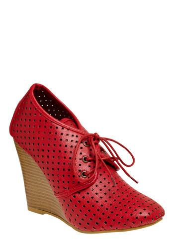 Style Squared Wedge - Red, Solid, Cutout, Casual, Wedge