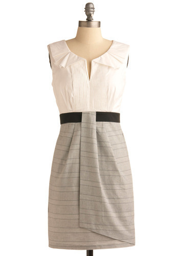 Here Comes Success Dress - Grey, Black, White, Pleats, Work, Shift, Twofer, Sleeveless, Mid-length