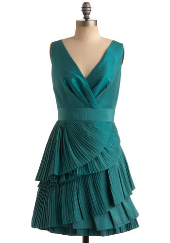 Rolling Tide Dress by Max and Cleo - Green, Solid, Pleats, Tiered, Formal, Prom, Wedding, Party, Luxe, Empire, Sleeveless, Tank top (2 thick straps), Mid-length