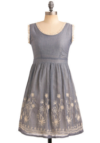 Tire Swing Dress - Blue, Tan / Cream, Floral, Lace, Trim, Casual, Empire, Sleeveless, Spring, Summer, Embroidery, Mid-length