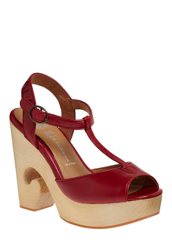 Comma on Over Heel by Jeffrey Campbell - Red, Solid, Casual, Statement, Spring, Summer, Buckles, High, Best, Wedge, Lace Up, T-Strap