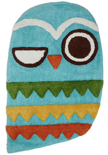 Owl Clean Bath Mat - Blue, Multi, Dorm Decor, Owls, Cotton, Best Seller, Best Seller, Mid-Century, Good, Woodland Creature, Critters, 4th of July Sale