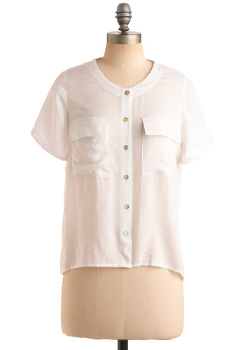 Tee Time Top - White, Solid, Buttons, Pockets, Work, Casual, Short Sleeves, Spring, Summer, Mid-length
