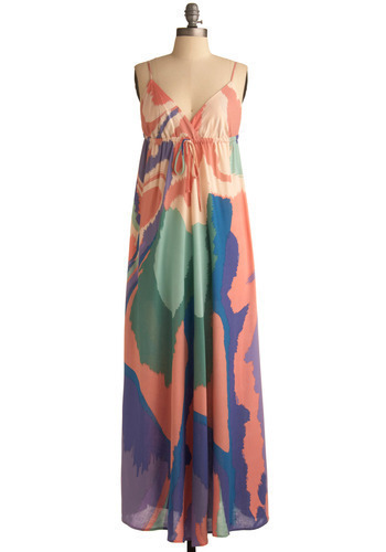 Marbled Marvel Dress - Multi, Green, Blue, Purple, Pink, White, Casual, Maxi, Spaghetti Straps, Spring, Summer, Long, Print