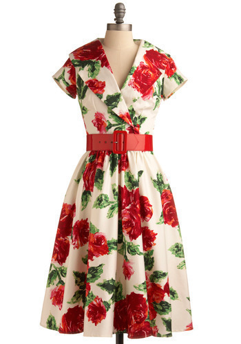 Rosehill Lane Dress by Pinup Couture - Red, Green, Cream, Floral, Casual, A-line, Shirt Dress, Short Sleeves, Long, Rockabilly, Pinup