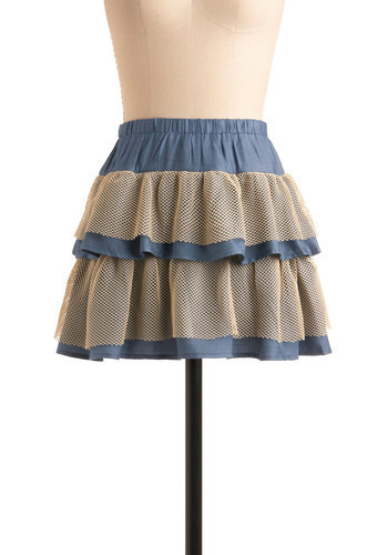 Net Necessarily Skirt - Blue, Tan / Cream, Crochet, Lace, Tiered, Casual, Spring, Summer, Mini, Short, Press Placement