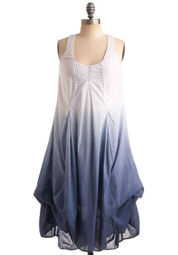 Sky's Clearing Dress - Blue, Casual, Maxi, Racerback, Spring, Summer, Long, White, Boho