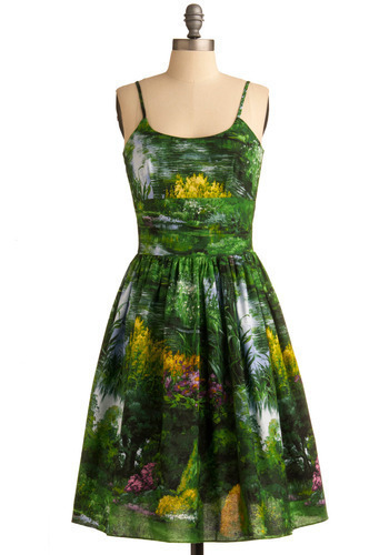 Graceful Greenery Dress in Nature by Bernie Dexter - Green, Yellow, Spaghetti Straps, Spring, Show On Featured Sale, Print, Cotton, Fit & Flare, Multi, Daytime Party, Graduation, Summer, Long