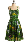 Graceful Greenery Dress in Nature by Bernie Dexter - Green, Yellow, Casual, Spaghetti Straps, Spring, Show On Featured Sale, Print, Cotton, Fit & Flare, Multi, Daytime Party, Graduation, Summer, Long