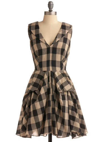Roadside BBQ Dress - Cream, Black, Checkered / Gingham, Casual, A-line, Sleeveless, Mid-length