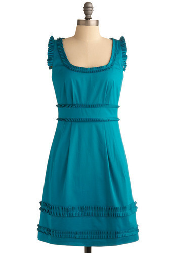 Jewel Be Mine Dress by Max and Cleo - Blue, Solid, Pleats, Pockets, Ruffles, Formal, Wedding, Party, Work, Casual, A-line, Sleeveless, Spring, Summer, Mid-length