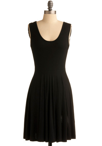 Days of the Chic Dress in Obsidian - Black, Solid, Casual, A-line, Sleeveless, Tank top (2 thick straps), Mid-length, Top Rated