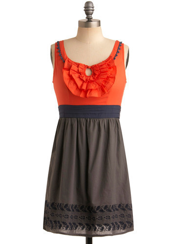 Swiftly Moving Days Dress - Blue, Cutout, Embroidery, Exposed zipper, Pleats, Ruffles, Casual, A-line, Empire, Twofer, Sleeveless, Tank top (2 thick straps), Spring, Summer, Orange, Grey, Short