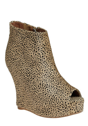 Grrr-l's Night Out Bootie by Jeffrey Campbell - Tan, Black, Animal Print, Casual, Statement, Wedge