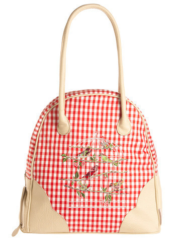 Cool and the Gingham Weekend Bag | Mod Retro Vintage Bags | ModCloth.com :  whimsical gingham vegan leather embroidered