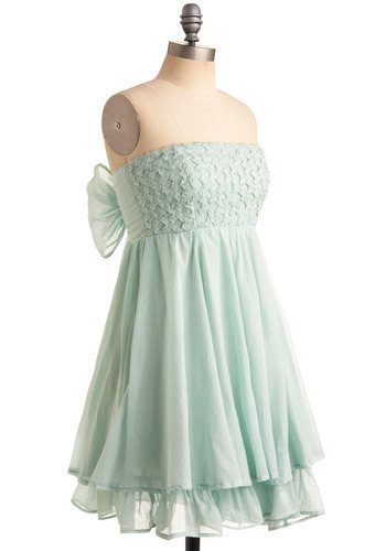 Muddled Mint Dress - Green, Solid, Bows, Ruffles, Tiered, Wedding, Party, Luxe, Empire, Strapless, Special Occasion, Prom, Mid-length
