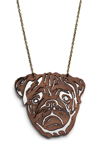 Ruff-and-Tumble Necklace in Pug - Brown, Print with Animals, Novelty Print, Chain, Casual, Statement