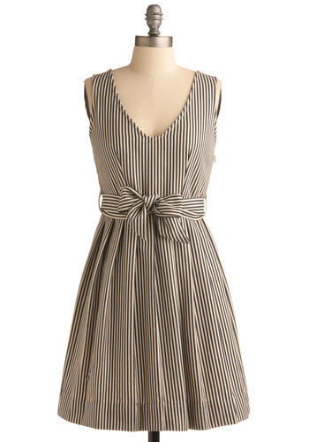 Symbol of Style Dress - Cream, Stripes, Bows, Pleats, Party, Casual, Nautical, A-line, Sleeveless, Tank top (2 thick straps), Spring, Summer, Blue, Mid-length
