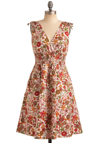 All Sounds True Dress - Multi, Red, Orange, Green, Pink, Floral, Casual, A-line, Sleeveless, Spring, Summer, Long