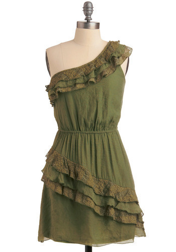 In the Shade Garden Dress - Green, Lace, Ruffles, Casual, A-line, One Shoulder, Spring, Summer, Fall, Short